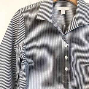 CHICO'S 🌸 Striped Button Front Long Sleeve Blouse